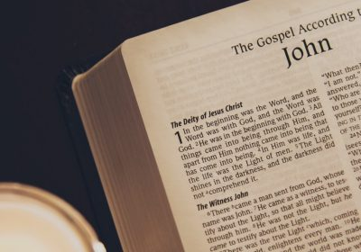 Bible opened to the Gospel of John