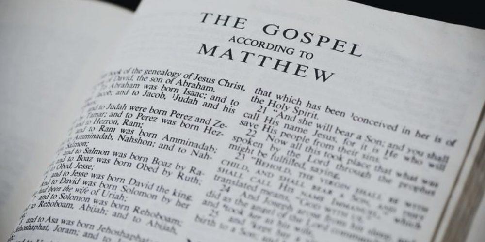 Bible opened to the Gospel of Matthew