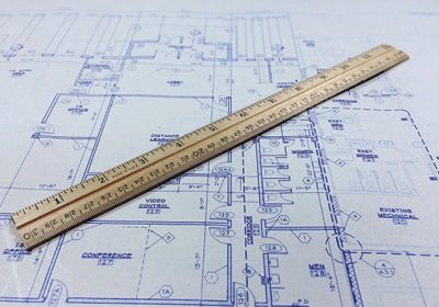 blueprint design with ruler