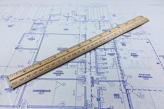 blueprint design with ruler